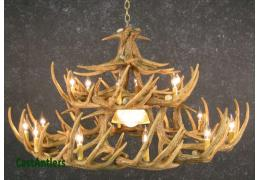 Whitetail 30 Cast Antler Chandelier w/ Downlight