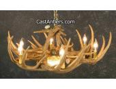 Whitetail 9 Cast Antler Chandelier w/ Downlight