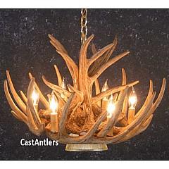 Whitetail 9 Cast Cascade Antler Chandelier w/ Downlight