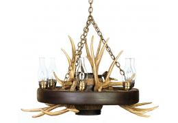Reproduction Wagon Wheel Mule Deer Antler Chandelier