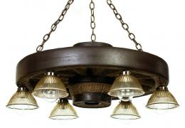 "30"" Downlight Verde Wagon Wheel Chandelier"