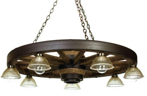 "42"" Downlight Reproduction/Cast Wagon Wheel Chandelier"