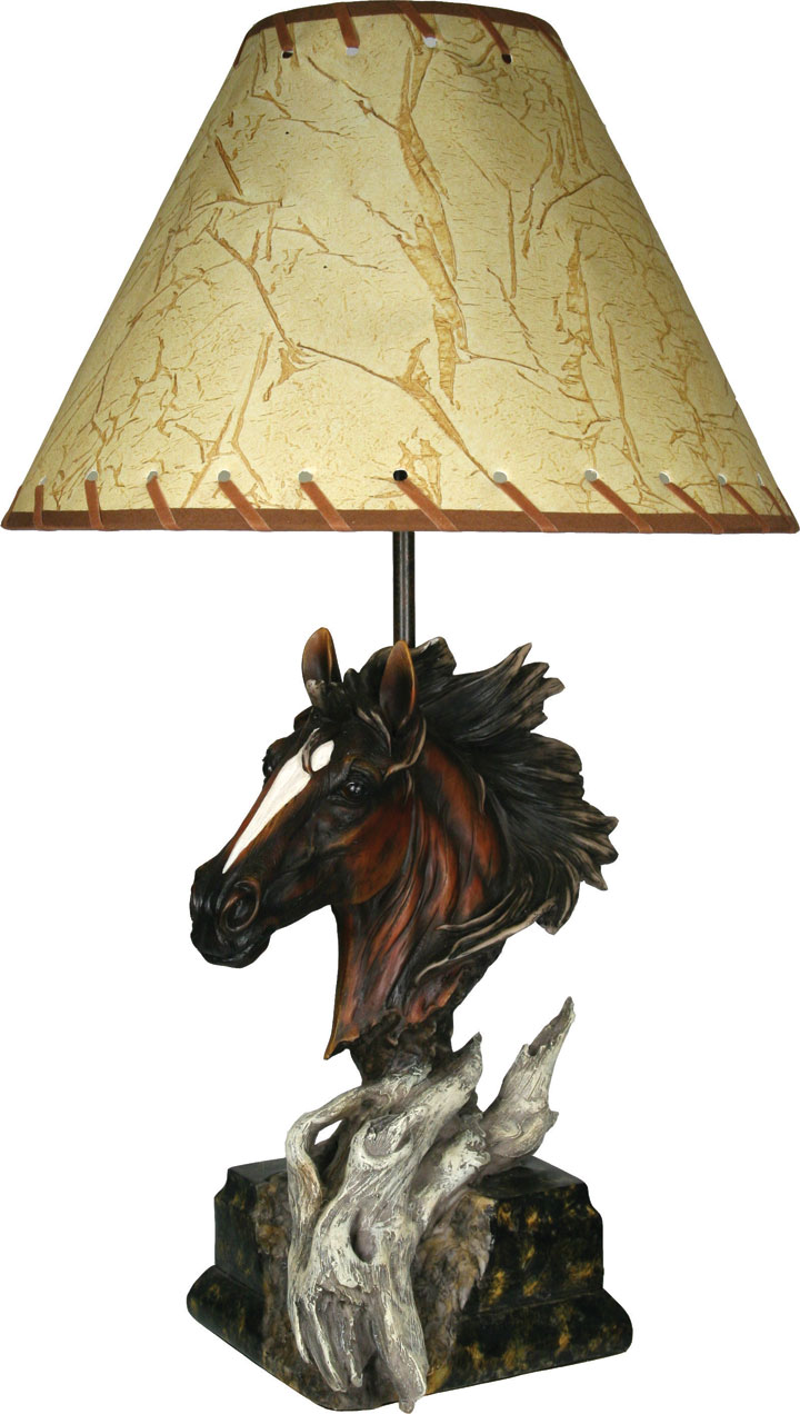 Rustic antler lamps western horse table lamp rustic lighting western horse table lamp aloadofball Image collections