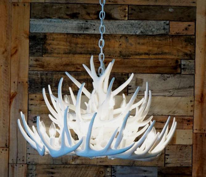 pure white whitetail 21 cast cascade antler chandelier - Antler Chandelier