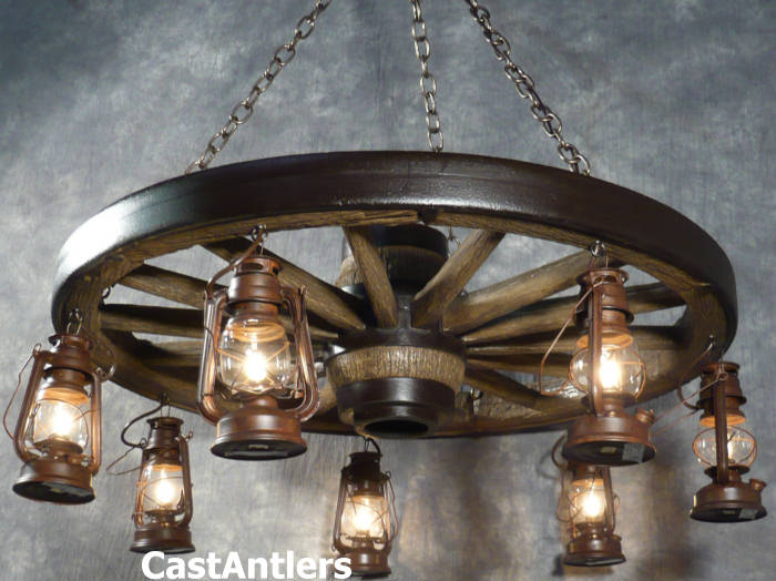 Wagon wheel chandeliers 42 hanging lantern reproduction wagon 42 hanging lantern reproduction wagon wheel chandelier aloadofball Image collections