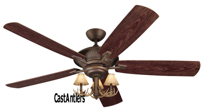 60 Quot Cyclone 3 Light Antler Indoor Outdoor Ceiling Fan