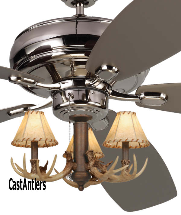 "Caged Ceiling Fan With Light Fans Standard Size Rustic W: 52"" Embassy Polished Nickel 3-Light Antler Ceiling Fan"