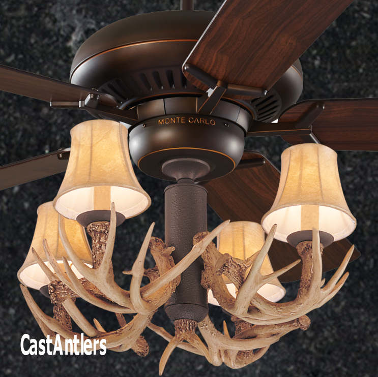 Standard size fans 60 4 light antler ceiling fan rustic 60 4 light antler ceiling fan aloadofball Choice Image