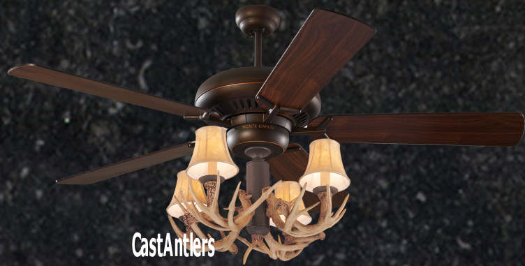 Standard size fans 60 4 light antler ceiling fan rustic 60 4 light antler ceiling fan mozeypictures Choice Image