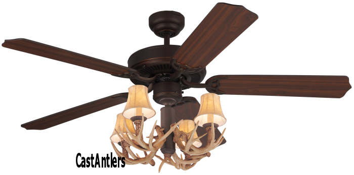 Standard size fans 52 lodge 4 light antler ceiling fan - Ventiladores de techo rusticos ...