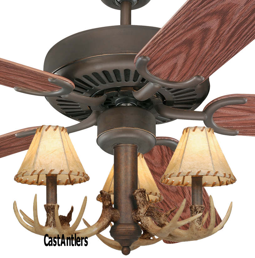 Outdoor Lighting 42 Quot 3 Light Antler Indoor Outdoor Ceiling Fan Rustic Lighting And Decor
