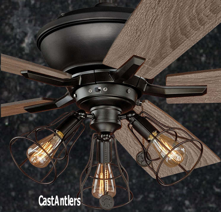 Standard size fans 52 edison rustic ceiling fan w industrial cage light rustic lighting - Industrial style ceiling fan with light ...