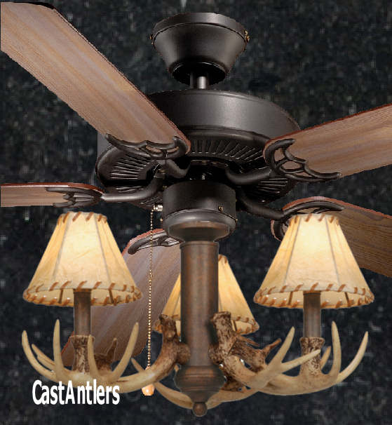 52 Rustic Ceiling Fan W Antler Light Kit