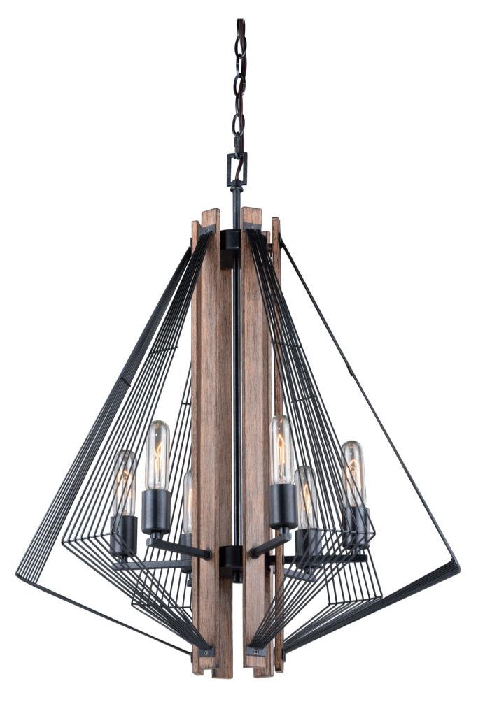 Dearborn Black Wood Edison Nautical Modern 6 Light Chandelier