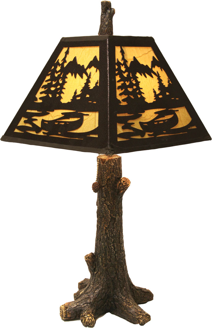 Rustic Tree Table Lamp With Metal Shade. Hover To Zoom