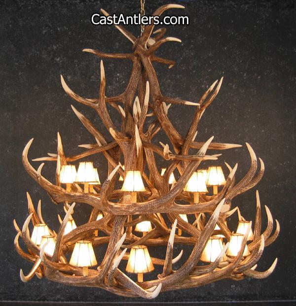 Antler chandeliers elk 18 cast antler chandelier w rawhide elk 18 cast antler chandelier w rawhide shades mozeypictures Images