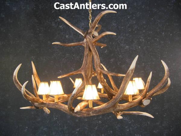 Antler chandeliers elk 6 cast antler chandelier w rawhide elk 6 cast antler chandelier w rawhide shades mozeypictures Images