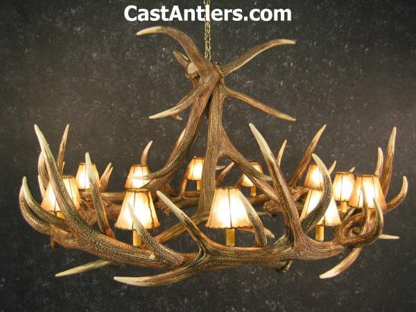 Antler chandeliers elk 9 cast antler chandelier w rawhide elk 9 cast antler chandelier w rawhide shades mozeypictures Images