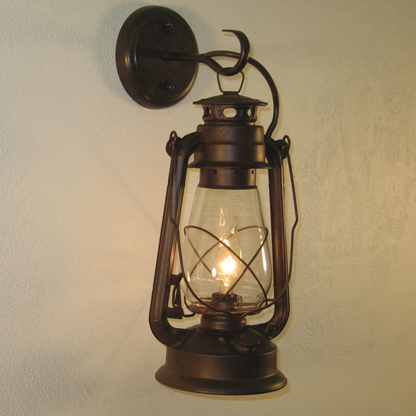 Small Rustic Wall Lights : Large Rustic Finish Lantern Wall Mounted Light Sconce eBay