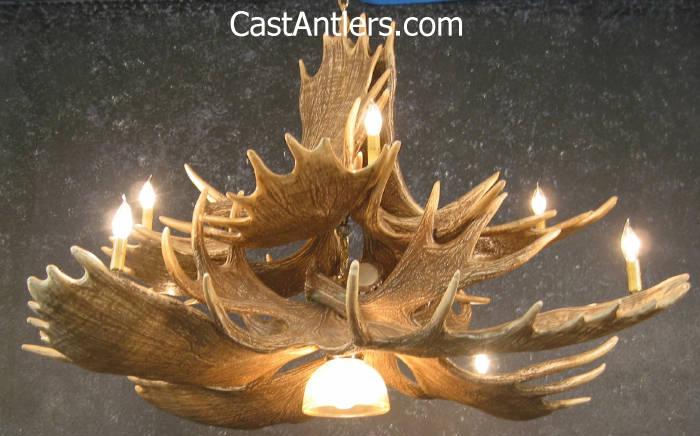 moose 10 cast antler chandelier w downlight - Antler Chandelier