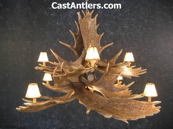 Antler chandeliers moose 10 cast antler chandelier w downlight hover to zoom mozeypictures Images