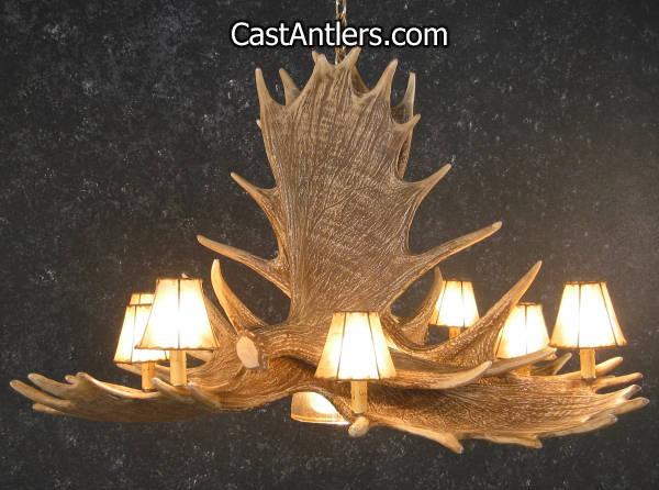 Antler chandeliers moose 6 cast antler chandelier w downlight hover to zoom mozeypictures Images