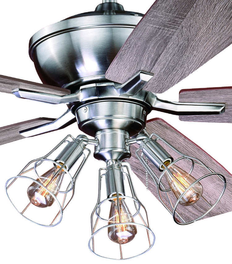 52 Quot Edison Stainless Ceiling Fan W Industrial Cage Light