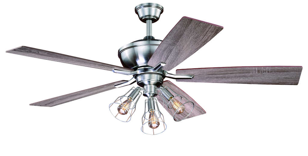 52 edison stainless ceiling fan w industrial cage light aloadofball Images