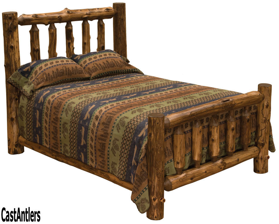 Rustic Furniture | Dark Cedar Log Bed | Rustic Lighting and Decor ...