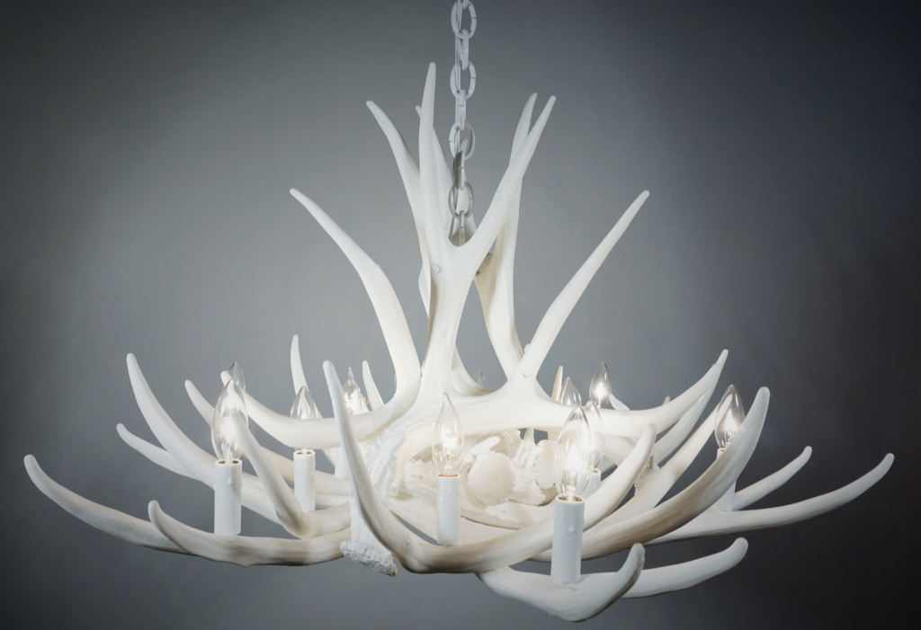 Pure white antler lights pure white mule deer 9 cast antler pure white mule deer 9 cast antler chandelier aloadofball Images