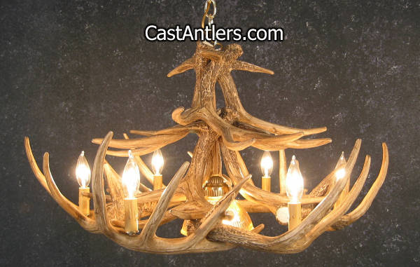 Antler chandeliers whitetail 12 cast antler chandelier w whitetail 12 cast antler chandelier w downlight hover to zoom mozeypictures Images