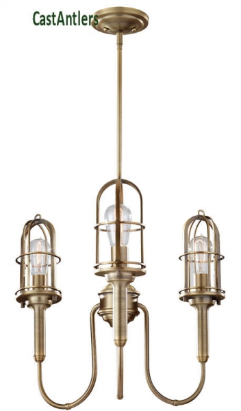 Industrial Chandelier - Dark Antique Brass