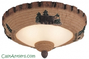 Cabin Lodge Pine Bowl light kit/flush-mount