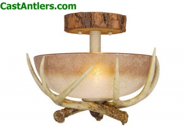 Lodge 12in Semi Flush Ceiling Light with French Scavo Glass