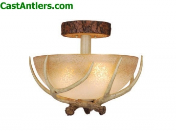 Lodge 16in Semi Flush Ceiling Light with French Scavo Glass