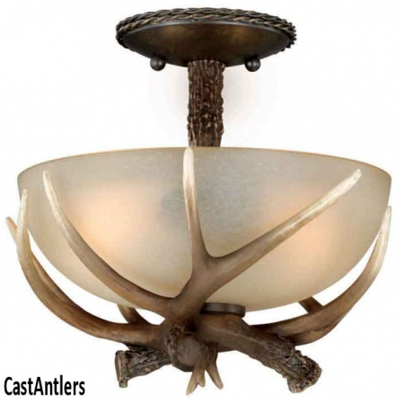 "12"" Semi Flush Faux Antler Light"