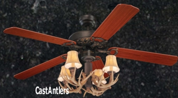 "52"" Rustic 4-Light Antler Ceiling Fan"