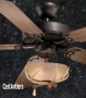 "52"" Rustic Ceiling Fan w/ Reproduction Antler Bowl Light Kit"
