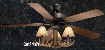 "52"" Rustic Ceiling Fan w/ Antler Light Kit"