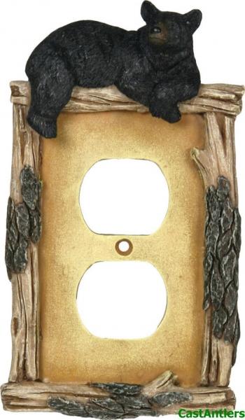 Black Bear Receptacle Plate Covers