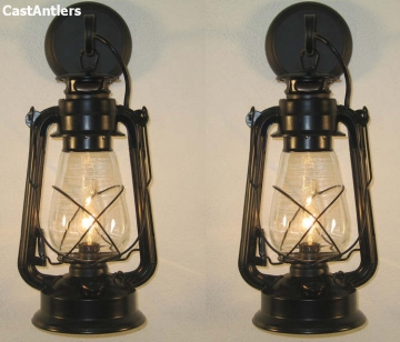 Large Black Lantern Wall Sconce (price is for 2 sconces)