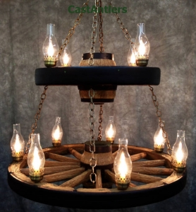 Double Tier Lantern Reproduction/Cast Wagon Wheel Chandelier