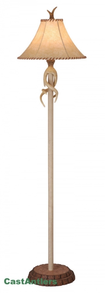 "66"" Floor Lamp w/ Faux Leather Shade"
