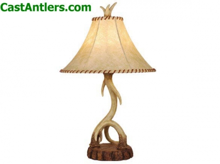 Cast Antler Lamp w/ Faux Leather Shade