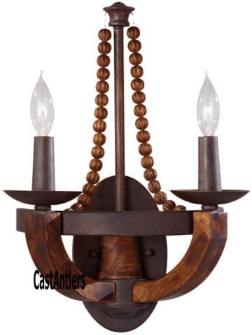 Rustic Antler Chandelier With Linen Shades