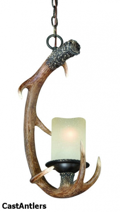 1-Light Cast Antler Pendant Black Walnut