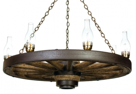"42"" Lantern Reproduction/Cast Wagon Wheel Chandelier"
