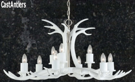 **Pure White** 9 Light Cast Antler Chandelier