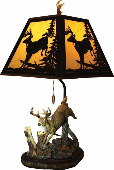 Deer Table Lamp with Metal Shade
