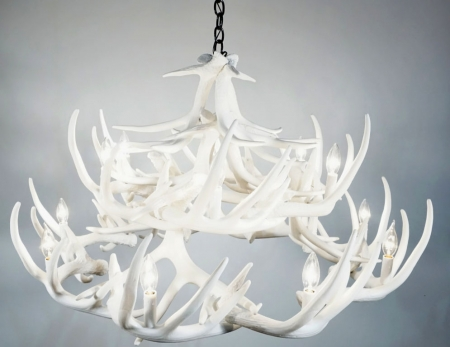 **Pure White** Whitetail 24 Cast Antler Chandelier